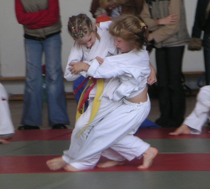 Two girls in a Judo fight